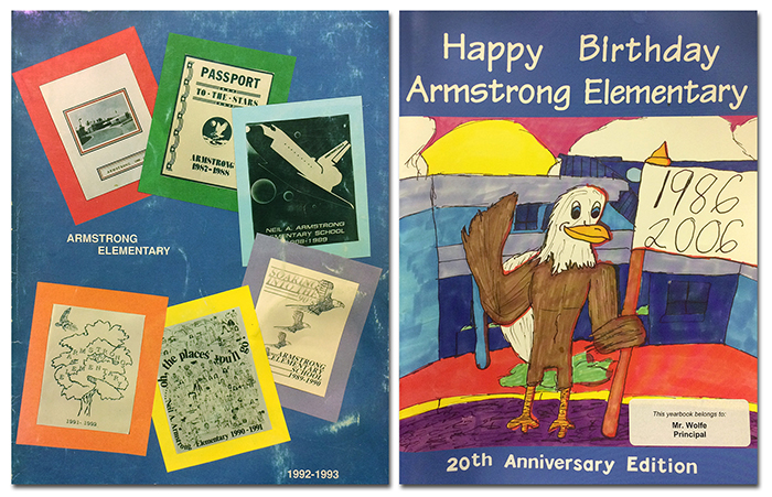 Photographs of the covers of Armstrong Elementary yearbooks from the 1992 to 1993 and 2006 to 2007 school years. The 1992 cover is on the left. It shows the covers of the first six Armstrong Elementary yearbooks. The first yearbooks was a simple red and white cover with a black and white photograph of the exterior of the school. The second yearbook has a green and white cover printed with the words Passport to the Stars and a picture of the NASA Apollo 11 mission patch. The third cover has a blue border and an illustration of a NASA space shuttle flying in space. The fourth cover has a purple border and beige center printed with words Soaring Into the 90s and illustrations of four eagles in flight. The fifth cover has a yellow border and is printed with the words Oh the Places You'll Go from the title of a Dr. Seuss book. The sixth cover has an orange border and an illustration in the center of an eagle in flight above a tree. The 2006 yearbook cover is on the right. It features a student-drawn illustration of an eagle standing in front of the school holding a flag. The eagle is waving. The cover reads Happy Birthday Armstrong Elementary, 20th Anniversary Edition.