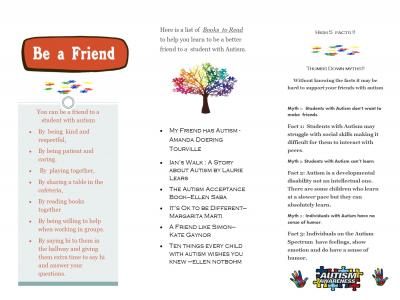 The brochure includes tips on how to be a friend to a student with autism and a list of books to read.